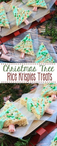 Christmas Tree Rice Krispies Treats – so adorable! It's easy to get the kids i… Christmas Tree Rice Krispies Treats – so adorable! It's easy to get the kids involved with simple treat triangles, icing, and decorations! Christmas Desserts, Christmas Treats, Christmas Baking, Christmas Fun, Christmas Cookies, Xmas, Holiday Treats, Reis Krispies, Food Crafts