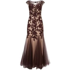 Phase Eight Collection 8 Rita Tulle Dress, Oxblood ($425) found on Polyvore featuring women's fashion, dresses, gowns, long dress, beaded gown, evening maxi dresses, midi dress, brown maxi dress and long-sleeve mini dress