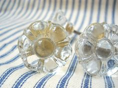 4 Glass knobs pulls flower shaped crystal clear for projects vintage style hardware Shabby Romantic chic