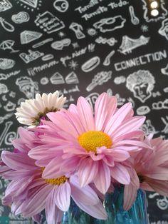 Flores y pizarra