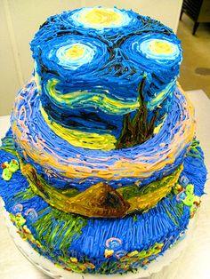gogh cake, vans, van gogh, night cake, cake creation, eat cake, birthday cakes, starri night, starry nights