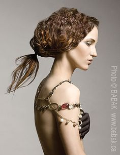 I have no clue how they got her hair to look that way but I think it's pretty & I'm ♥'in the  Couture Beaded Cape Necklace