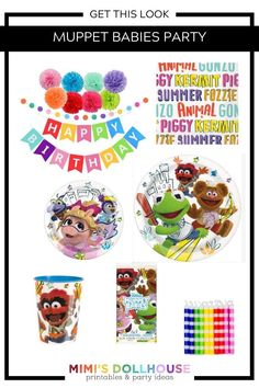 Muppet Babies Party Supplies and Ideas for a Birthday! These Muppet Babies birthday party ideas will make your dreams come true in true muppet fashion. Birthday Party Treats, 1st Birthday Party For Girls, 1st Birthday Party Decorations, Baby Party, Baby Birthday, Baby Cupcake Toppers, Disney Parties, Girl Parties, Muppet Babies