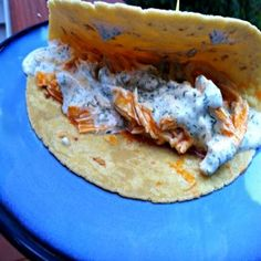 Gluten Free Dairy Free Buffalo Ranch Chicken Wrap | OAMC from Once A Month Mom