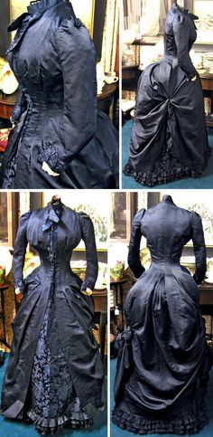 Así me imagino vestida a la difunta viuda Cordelia Dempsey. Deep midnight blue silk brocade with ivory pleated silk inside sleeves and silk-covered buttons. Closes with hooks & eyes. 1880s Fashion, Edwardian Fashion, Vintage Fashion, Antique Clothing, Historical Clothing, Vintage Gowns, Vintage Outfits, Charles Frederick Worth, Jeanne Paquin