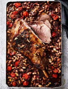 This slow-cooked leg of lamb recipe with flageolet beans and tomatoes is low-effort but packed with rich flavours. Slow Cooked Lamb Leg, Slow Roast Lamb, Lamb Recipes, Slow Cooker Recipes, Cooking Recipes, Slow Cooking, Sunday Roast Dinner, Lamb Dishes, Chops Recipe