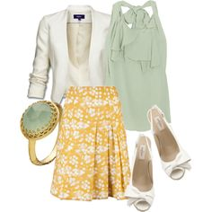 White, Sage, Yellow, created by sproutfit on Polyvore