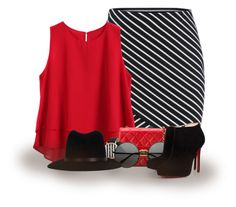 """""""Striped Skirt"""" by abigaillieb ❤ liked on Polyvore featuring Chanel, Geneva, rag & bone and Christian Louboutin"""