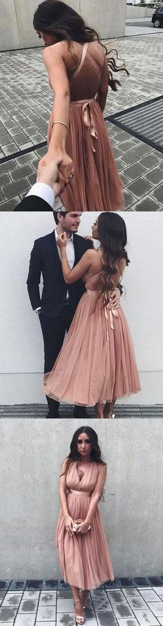 A-Line V-Neck Criss-Cross Straps Tulle Tea-Length Prom Dress With Pleats M1170#prom #promdress #promdresses #longpromdress #promgowns #promgown #2018style #newfashion #newstyles #2018newprom#eveninggown#crisscrossstraps#tulle#pleats