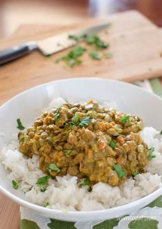 Coconut green lentil curry - Three of my favorite things! Lentils, coconut milk, and curry!