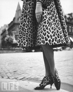 Leopard coat + leopard booties, 1961 by Paul Schutzer/The LIFE Picture Collection/Getty Images