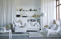living room, Elegant White Color From 2013 IKEA Living Room Design Ideas For Small Space Interior: Beautiful small living room design and decoration pictures Small Living Room Furniture, Ikea Living Room, Small Living Rooms, Home And Living, Living Room Designs, Living Spaces, Ikea Furniture, Cozy Living, Modern Living