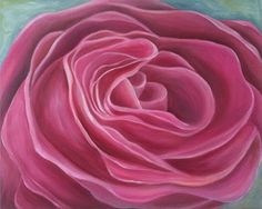 "Pink Garden Rose by Marcy Brennan  Oil on  24"" x 30"" gallery canvas - $500"