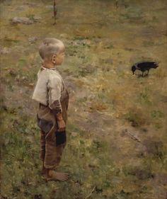 "Axel Gallen (Akseli Gallen-Kallela, Finnish) - ""Boy and Crow"" 1884"
