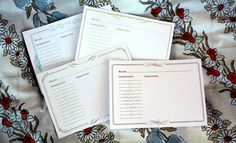 Printable/Type Recipe Cards: These would be fantastic to mail out with bridal shower invitations. Each guest should bring the completed recipe card plus one ingrediant from that recipe to the shower. It helps stock up the brides pantry and build out her recipe book.