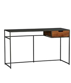 Guapo Desk This trim work surface sports an industrial iron frame with a mango-wood drawer.