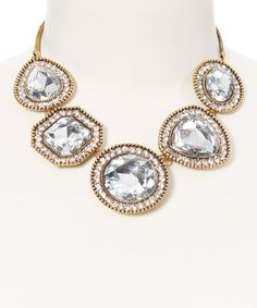 Love this Crystal & Gold Asymmetrical Stone Necklace by Stella + Ruby on #zulily! #zulilyfinds