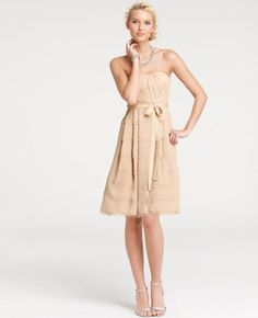 Fringe Strapless Bridesmaid Dress, Ann Taylor, in pale almond