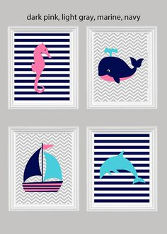Nautical Nursery Seahorse Sailboat Dolphin by SweetPeaNurseryArt