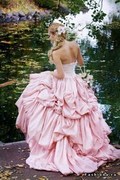 #Pink Ruffle gown Beautiful colour and style