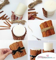 Crafting ideas for DIY gifts for Christmas, candles with cinnamon sticks themselves mac … - Diy Christmas Gifts Diy Gifts For Christmas, Christmas Candles, Diy 2019, Diy Hanging Shelves, Diy Tumblr, Diy Crafts To Do, Ideias Diy, Diy Presents, Diy Candles