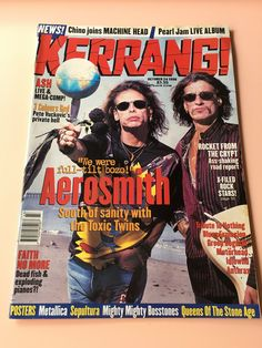 Kerrang! Aerosmith Steven Tyler & Joe Perry cover story, UK Music Magazine, Vintage magazine back issues October 24 by MuppetLoveVintage on Etsy