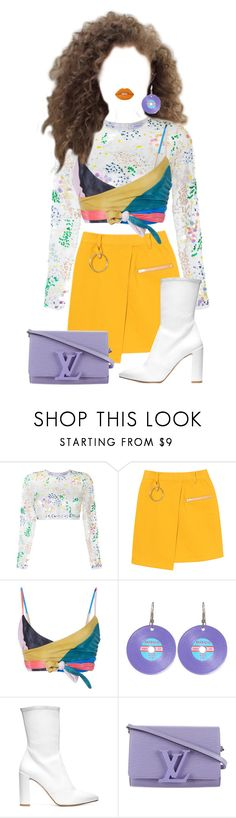 """Untitled #171"" by lunevilleoswald ❤ liked on Polyvore featuring Ashish, Mara Hoffman, Stuart Weitzman, Louis Vuitton and Lime Crime"