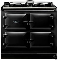 "AGA ADC3GBLK 39"" Freestanding Gas Cooker with 2 Hot Plates and 3 Ovens - Roasting, Baking and Slow Cooking: Black"