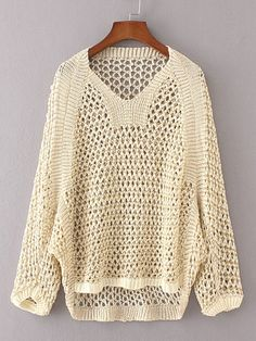 Shop Hollow Out High Low Sweater online. SheIn offers Hollow Out High Low Sweater & more to fit your fashionable needs. Crochet Shirt, Crochet Poncho, Crochet Top, Loose Sweater, Long Sleeve Sweater, Brown Sweater, Batwing Sleeve, Summer Knitting, Hand Knitting