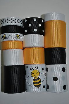 Wholesale-grosgrain-ribbon-lot-mix-bumble-bee-print
