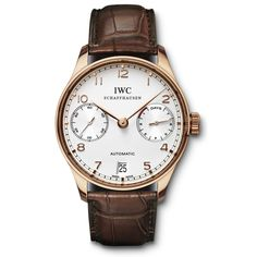 IWC Men's IW500113 'Portuguese' Automatic Chronograph Brown Leather Watch by IWC