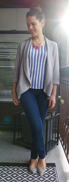 I don't like the necklace or shoes but love the jacket and top.