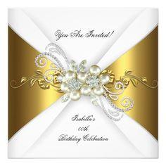Elegant Pearl Gold Silver Diamond Birthday Party 2 Invitation