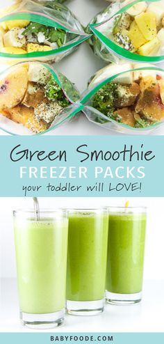 toddler will love these three green smoothie recipe combinations! Packed with fruits and vegetables, this freezer packs will please even your picky eaters! Toss 'em in the freezer and whip one up anytime your toddler (or you) is hungry! Smoothie Legume, Smoothie Fruit, Vegetable Smoothies, Raspberry Smoothie, Green Smoothie Recipes, Smoothie Cleanse, Smoothies With Vegetables, Spinach Smoothies, Cleanse Detox