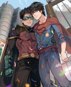 "Teen ver is great 🎉🎉 "" In fact Damian is the taller one. Jon is just floating in the air. Superman X Batman, Damian Wayne Batman, Jason Todd Batman, Batman Comic Art, Batman Robin, Funny Batman, Marvel Dc Comics, Hq Marvel, Dc Comics Art"