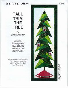 PATTERN TRIM the TREE tall version Quilted by DorothyPrudieFabrics