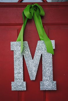 Silver & Green Glitter Door Wreath Initial by LettersFromAtoZ All Things Christmas, Christmas Time, Christmas Crafts, Christmas Decorations, Christmas Ideas, Door Letters, Initial Letters, Alphabet Letters Design, Letter Designs
