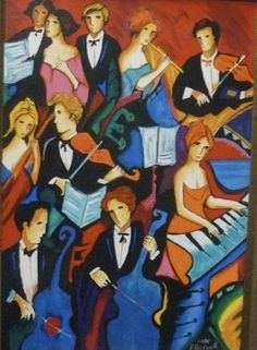 The Orchestra by Philip Maxwell is a Limited Edition Fine Art Serigraph Print on Canvas, Numbered in Sequence out of a total Edition Size of only and is Hand Signed by the Artist. Figure Painting, Painting & Drawing, Canvas Art, Canvas Prints, Music Pics, Arts Ed, Illustrations And Posters, Print Artist, Figurative Art