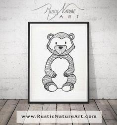 Black and White Bear Wall Art Print - Woodland Nursery Decor for Modern Minimal home