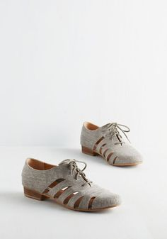 First Step to Success Flat in Grey - Flat, Woven, Grey, Solid, Cutout, Work, Casual, Menswear Inspired, Vintage Inspired, 20s, 30s, Good, Lace Up, Variation