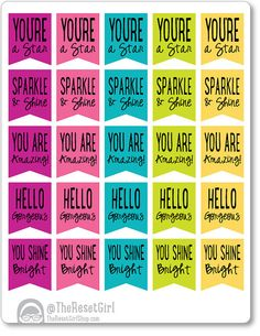 25 Affirmation banner stickers Planner by TheResetGirlShop on Etsy