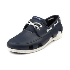 6e7aacfe3 Shop for Mens Crocs Beach Line Boat Shoe in Navy White at Journeys Shoes.