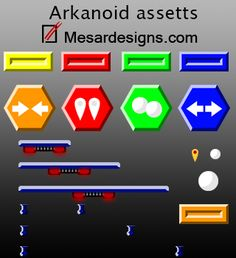 An asset pack for an Arkanoid (Breakout) game I made for a programmer. It was just for fun so I thought if anyone else wants to use it they can. The animations are in gif format and in sheets, 160x154 for the brick explosion and 110x64 for the ball out. Breakout Game, Brick, Graphics, Thoughts, Games, Fun, Graphic Design, Gaming, Bricks