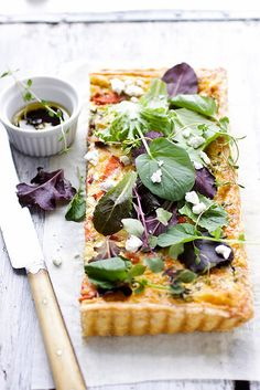 Goat cheese herb tart.