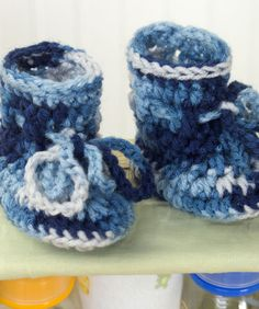 Baby Boots(crochet). Have made at least 3 pairs of these in various sizes and yarn weights.