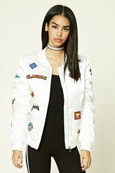 5ef92c5c495 Details about Women s White Bomber Jacket (Forever 21) - Size Small. Satin  Bomber JacketVest JacketForever21EmojisColor90s FashionZipperLong  SleeveClothes ...