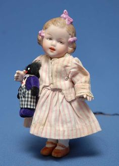 "6"" Gebruder Heubach ""Coquette"" I made a reproduction of this doll and got a red ribbon (one point from a blue) and my cat knocked it of the shelf and broke it!  :("