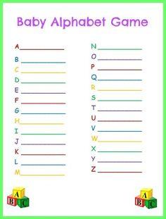 baby shower alphabet game alphabet baby shower gender neutral baby