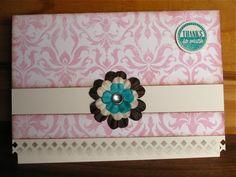"Shabby Pink & Teal ""Thank you"" card by Elmi Raubenheimer"