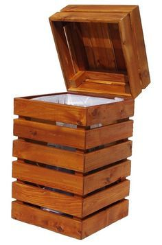 Contemporary kitchen trash cans by Sidelines Furniture. Maybe could be made from pallets?  I see it more as an outdoor item than indoors.